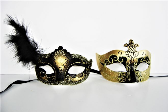 His & Hers Black & Gold Masks with Feathers